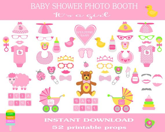 Baby Shower Photo Booth Props –52 Pieces-Instant Download-Printable Baby Shower–DIY Printable Photo Booth Props–Its a Girl-Baby Shower Girl