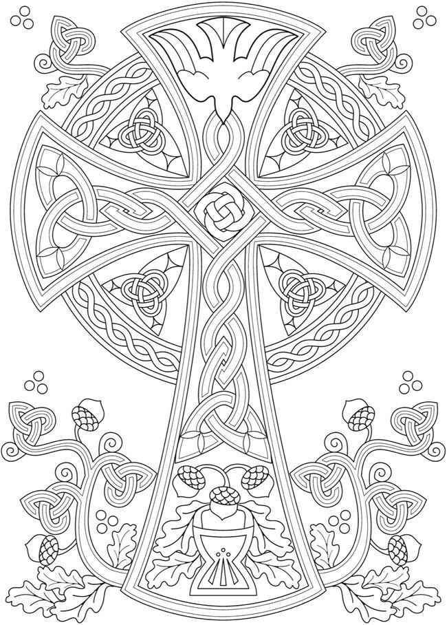 Pin By Leslie Waddell On Adult Celtic Coloring Cross Coloring