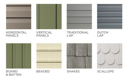 siding, horizontal panels, vertical ppanels, traditional lap, dutch lap, board & batten, beaded, shakes, scallop shingles