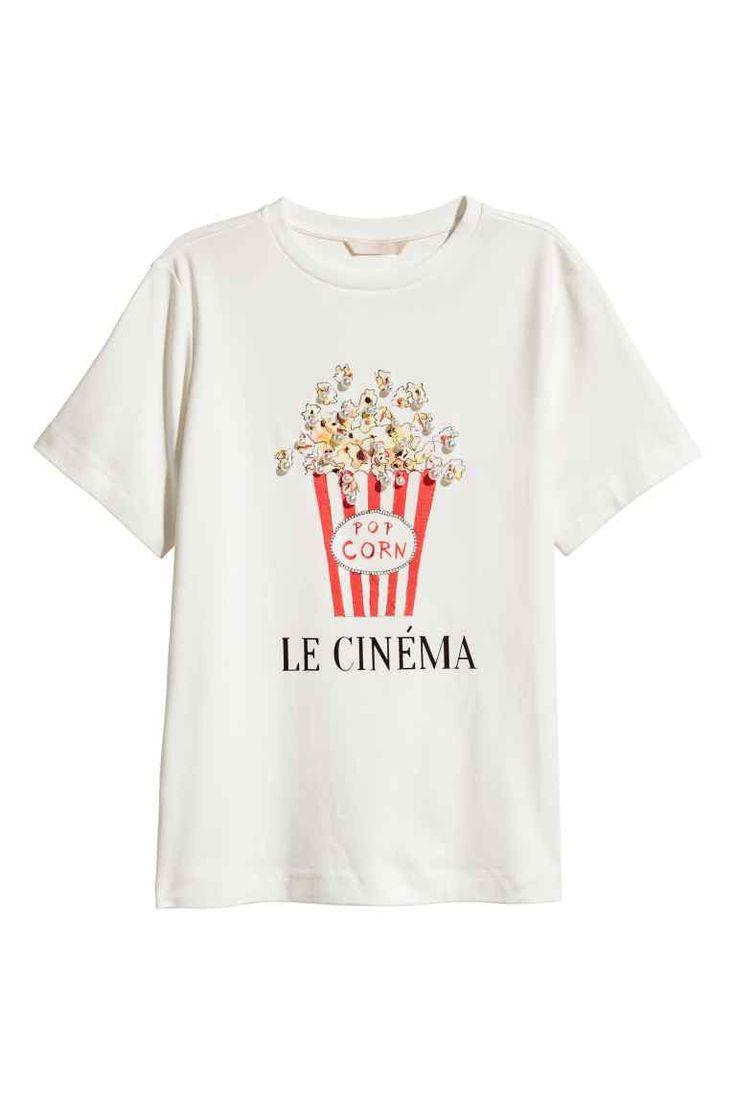 Top z nadrukiem - Biały/Popcorn - ONA   H&M PL