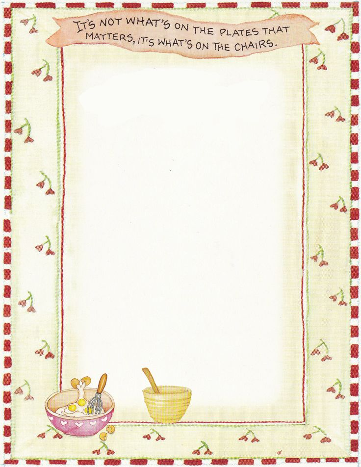Free blank Recipe Quick Page