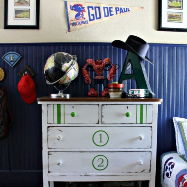 Diy Painted Dresser For Boys Room We Flipped This Old Dresser With A Little Paint To Fit With O Painted Dresser Diy Dresser Makeover Sports Themed Boy Bedroom