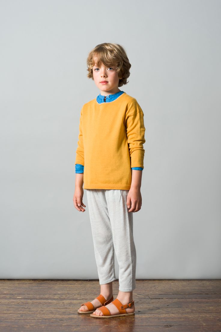 Maldives Jumper, Saffron/Cloud / Santorini Shirt, Indigo Blue / Mayotte Trouser, Ice Blue. Caramel Baby & Child. www.caramel-shop.co.uk.