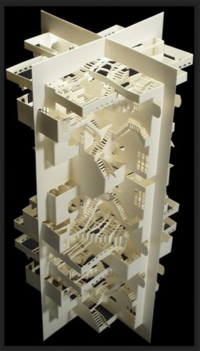 Cut/folded out of a single piece of paper (30 by 60 cm). This piece can be unfolded and brought back to a flat surface. 30 x 15 x 15, © 2007