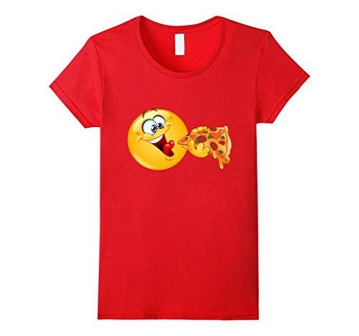 Women's Men's Emoji Emoticon Eating Pizza - Pizza Emoji T-Shirt