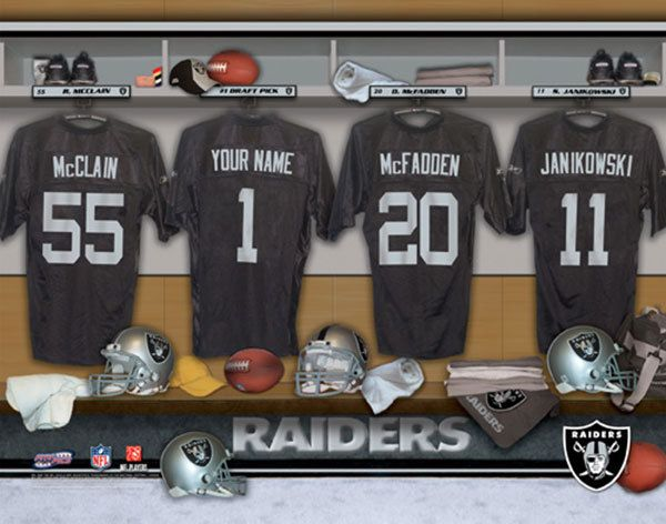 Oakland Raiders NFL Football - Personalized Locker Room Print / Picture. Have you or someone you know ever dreamed about playing next to your favorite Oakland Raiders players. You or someone you know can be right there in the locker room with Oakland Raiders players! Optional framing with mat is available. Perfect for gifts, rec room, man cave, office, child's room, etc.  (http://www.oakhousesportsprints.com/oakland-raiders-locker-room-print/)