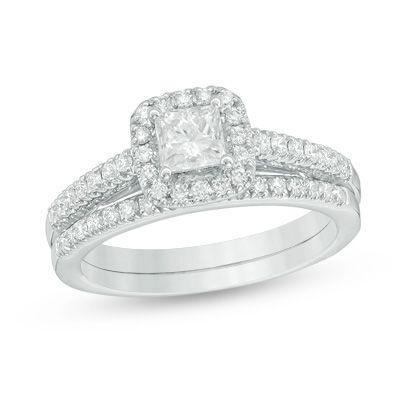 1+CT.+T.W.+Princess-Cut+Diamond+Frame+Bridal+Set+in+14K+White+Gold
