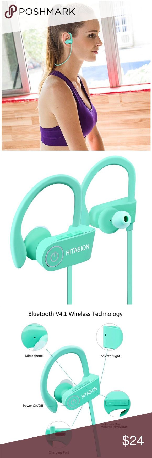 Bluetooth Best Wireless Sports Earphones Bluetooth Headphones for Women/Men's Best Wireless Sports Earphones W/Mic HD Crisp Sound Waterproof Hooks Gym Running Workout 8 Hours Battery Noise Cancelling Headsets Mint Green  LONGEST BATTERY LIFE - The latest lithium polymer battery allows to run for up to 6-8 hours and 10 days stand-by with a quick charge of only 1.5 hours to 2 hours fully when run out of battery. Accessories