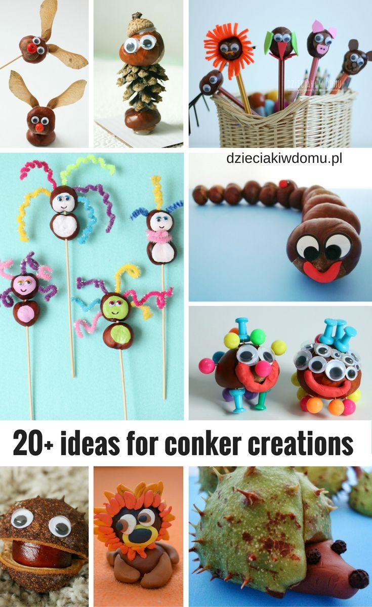 +20 ideas for conker creations / ponad 20 pomysłów na ludziki z kasztanów