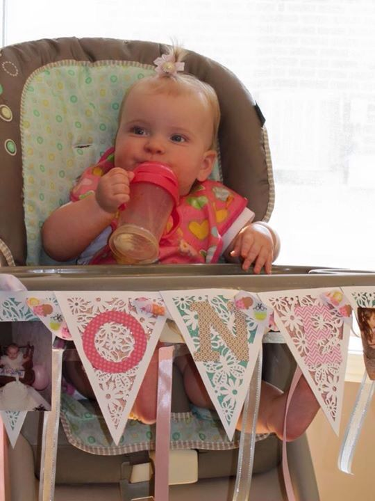 Homemade banner with pictures of mom and dad's 1st birthday in high hair