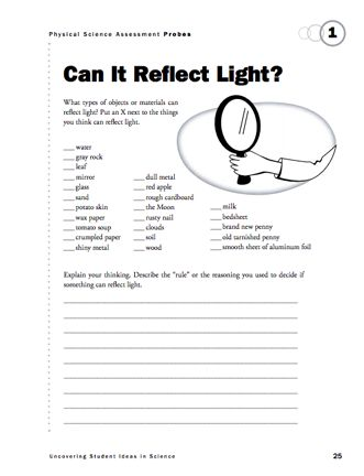 Here's a formative assessment probe on reflection. (Supplement to the February 2012 issue of Science and Children.)