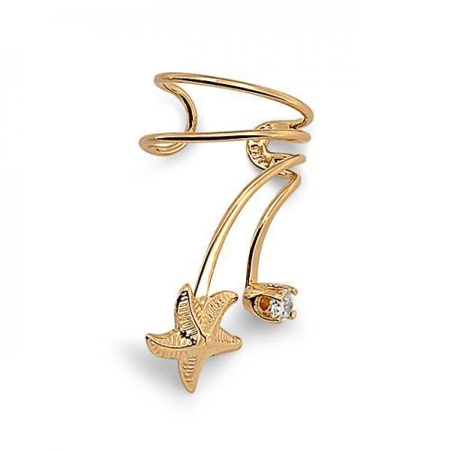 925 Silver Gold Vermeil CZ Nautical Starfish Ear Cuff Right Ear