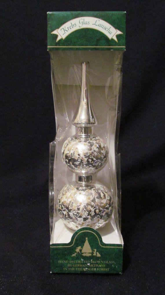 Vintage Glass Christmas Tree Topper Krebs Glas by ThenForNow