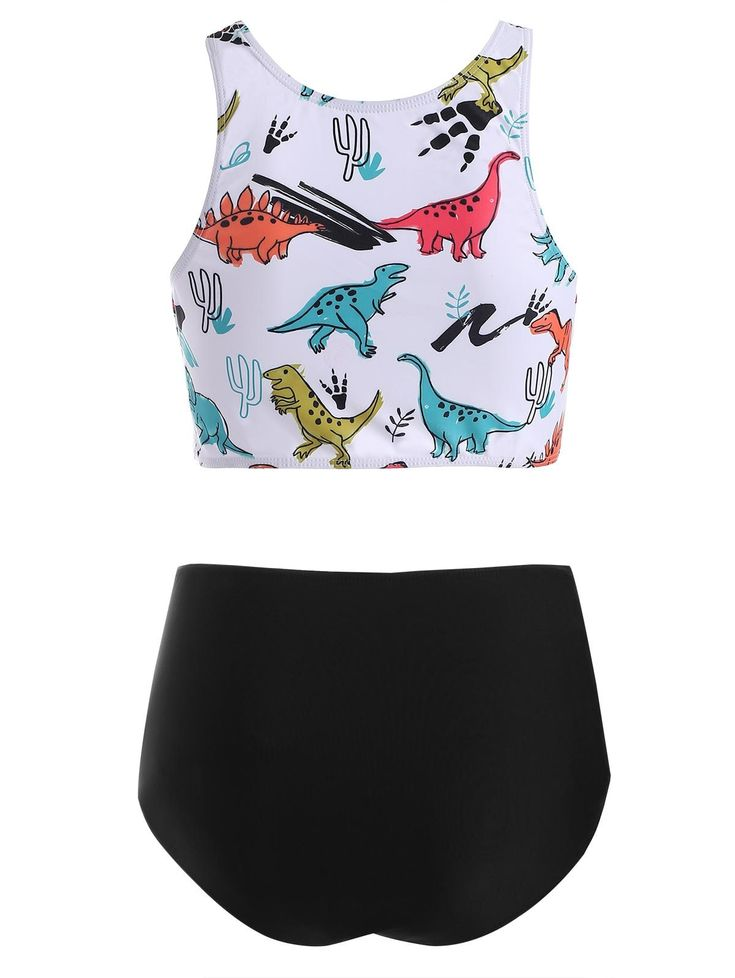 Twist Cutout Dinosaur Print Tankini Swimsuit