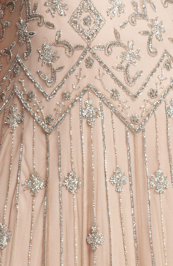 Pisarro Nights Pink Beaded Mesh Gown (details)