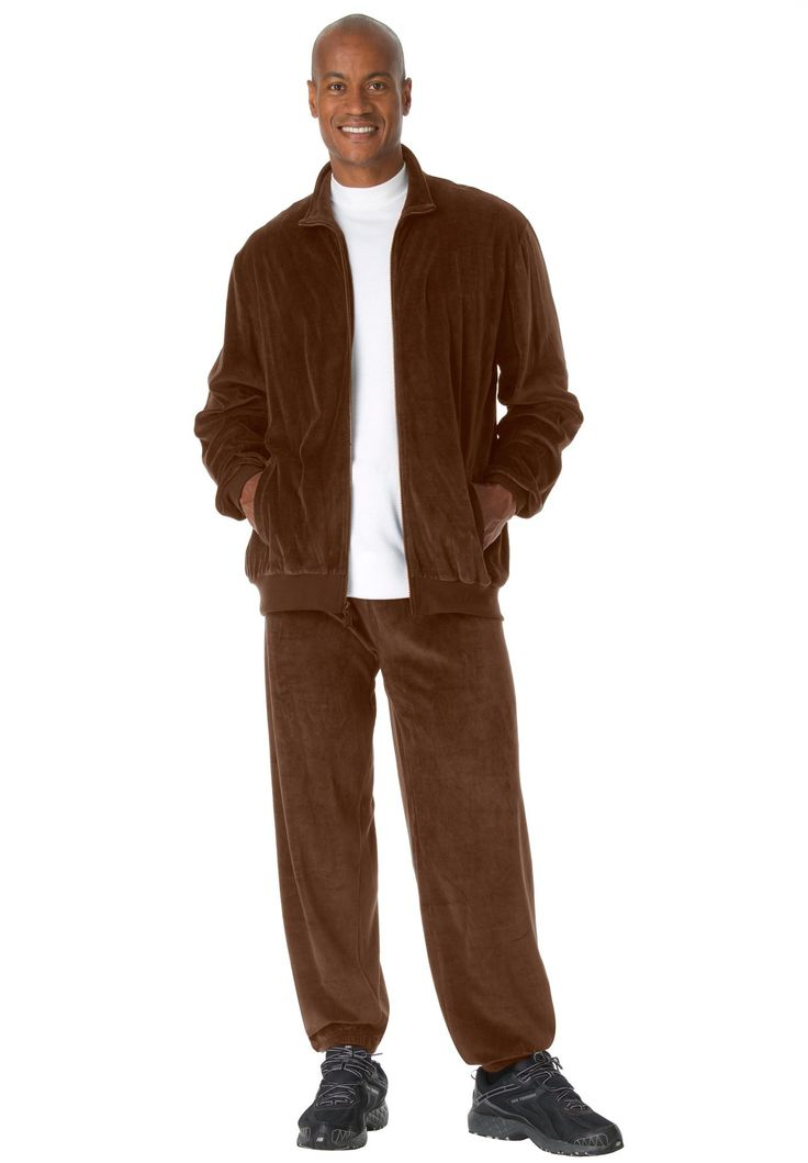 Big and Tall Solid Velour Tracksuit
