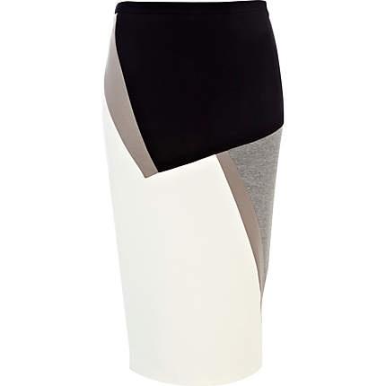 White colour block pencil skirt £30.00