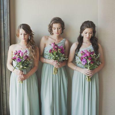 Princess/a-line one shoulder bridesmaid dresses with ruffle cheap chiffon mint wedding party dress pb10144