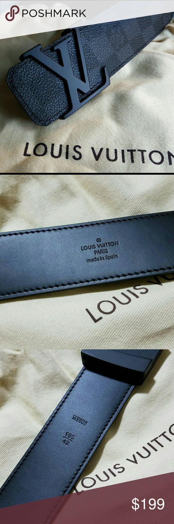 Louis Vuitton Belt Black Damier Ebener 105cm Authentic black louis vuitton belt worn twice. Fit 34-36 waist.  Comes with box and dust bag. Louis Vuitton Accessories Belts
