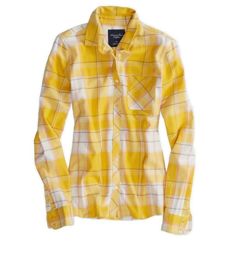AEO - real soft epic flannel shirt - Yellow  - Small
