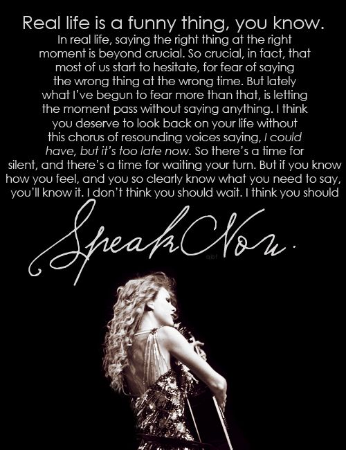 speak now tour intro speech- one of the most magical parts of the concert... :)