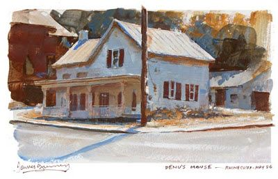 House in Rhinecliff, New York. Casein painting by James Gurney, 5x8 inches.