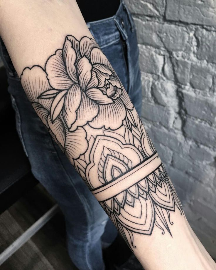 forearm design with mandala and roses, pin: morganxwinter