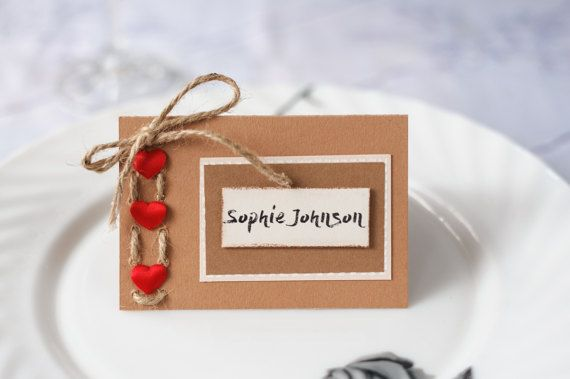 Rustic place cards Wedding place cards Custom place cards Hearts place cards Twine place cards Escort cards Name cards Table decoration