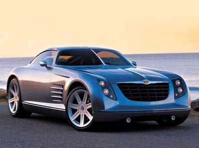 2001 Chrysler Crossfire Concept  Some of the most noticeable differences between the concept Crossfire and the production Crossfire include the removal of the central spine which splits the windscreen, roof and rear window, altered and less aggressive headlights, less dramatic front bumper and different wheels.