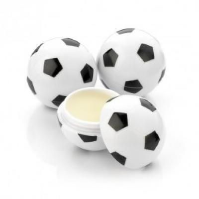 Image of Branded Football Shaped Lip Balm. Vanilla Flavoured 9ml