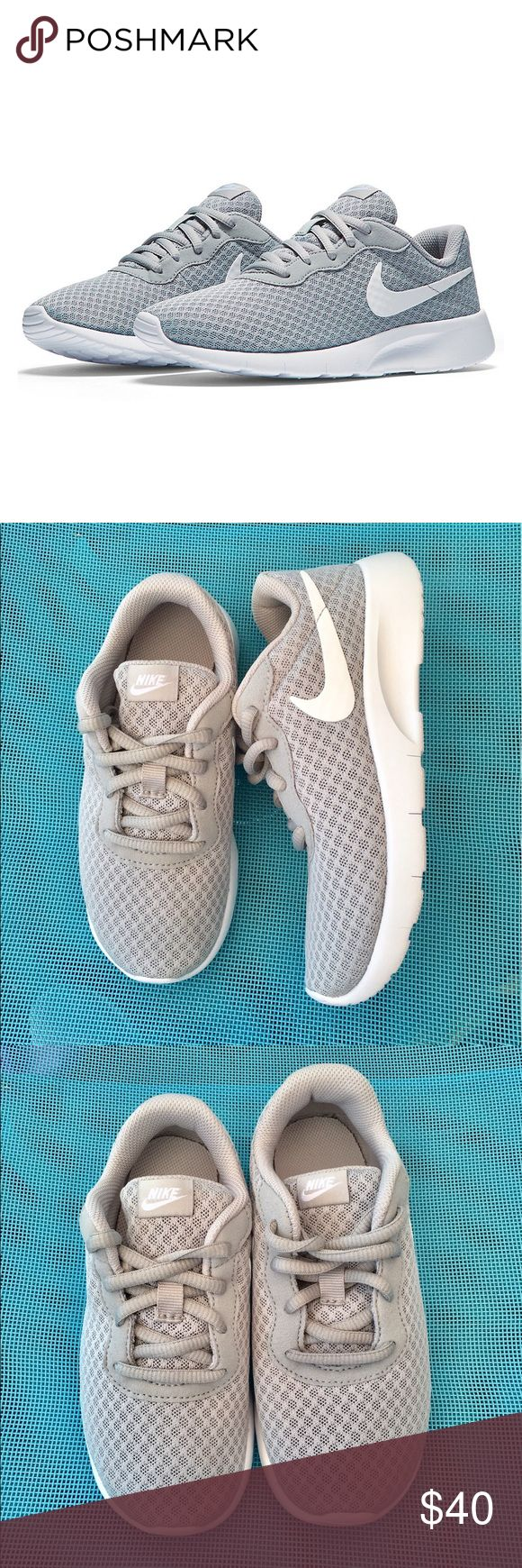 """Nike kids running shoes!! Nike Tanjun kids running shoes, size youth 13, color light gray and white, """"brand new"""" Nike Shoes Sneakers"""