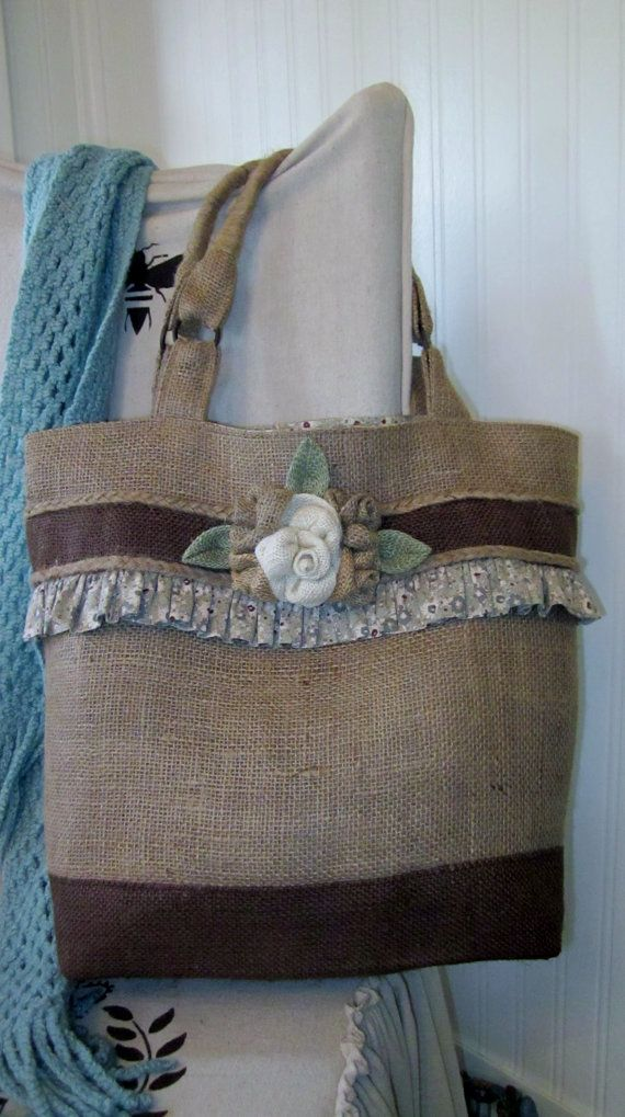 Garden Flowers Burlap Tote Bag by kakaymarie on Etsy, $85.00