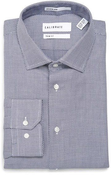 Men's Calibrate Trim Fit Print Dress Shirt