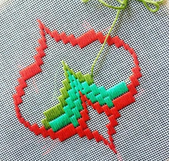 Bargello Needlepoint or Florentine Longstitch Original handmade in Spring 2018 in stunning colours Traditional popular Bargello Pomegranate design taking about 15 hours work to complete and Using DMC Floss Threads Framed up in wooden embroidery hoop Ready for wall hanging. Will