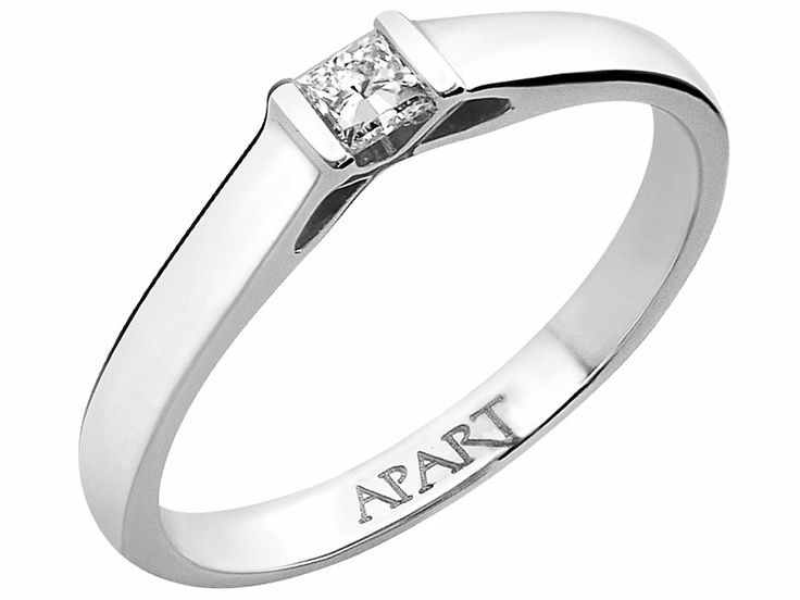 Pierścionek z białego złota z diamentem | Apart