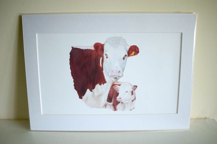 Hereford Cattle, Cow and Calf - Sandra Warmerdam Mounted Art Print A4