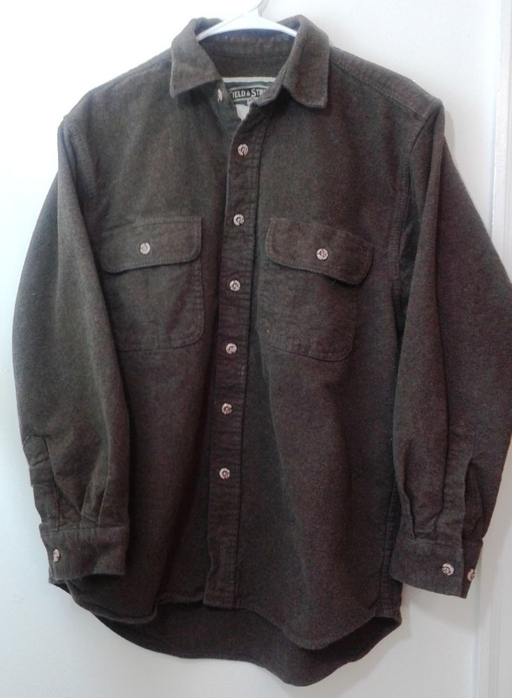 Field stream mens medium heavy duty flannel long sleeve for Mens chocolate brown shirt
