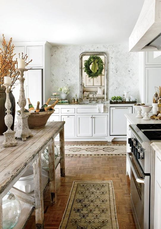 Country Kitchen with Kitchen island, Christmas decor, Complex marble counters, L-shaped, Custom hood, Undermount Sink