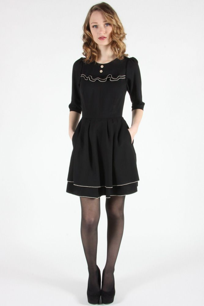 Manakin Dress by Birds of North America.  Drapey viscose twill dress with rolled edge detail.