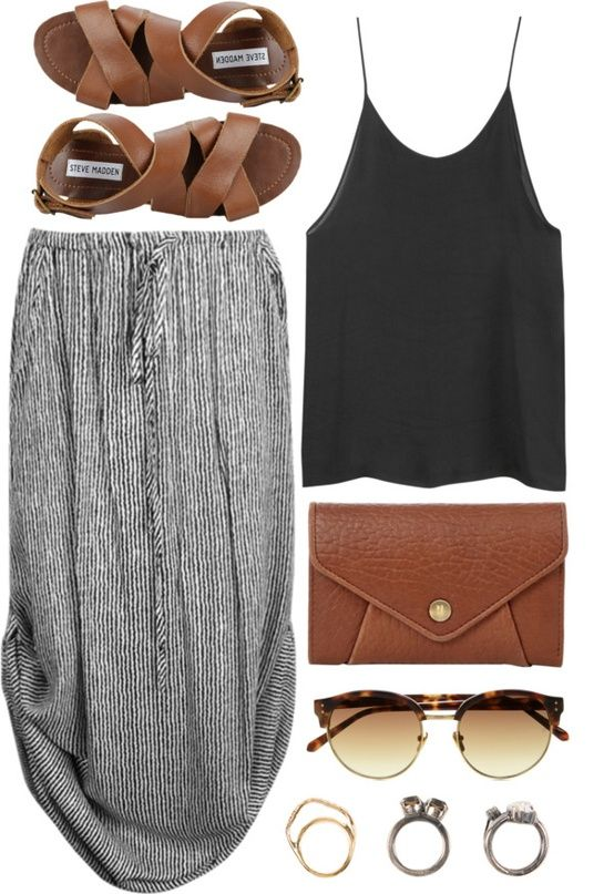 feeling boho? then this maxi skirt with a simple black strap top paired with simple jewelry, leopard print glasses is the perfect summer 2013 outfit be sure to add matching sandals and bag to make you look even more indie