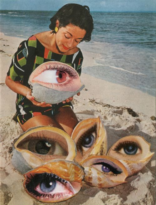 art eyes contemporary art artwork beach woman collage surreal SHELLS photomontage