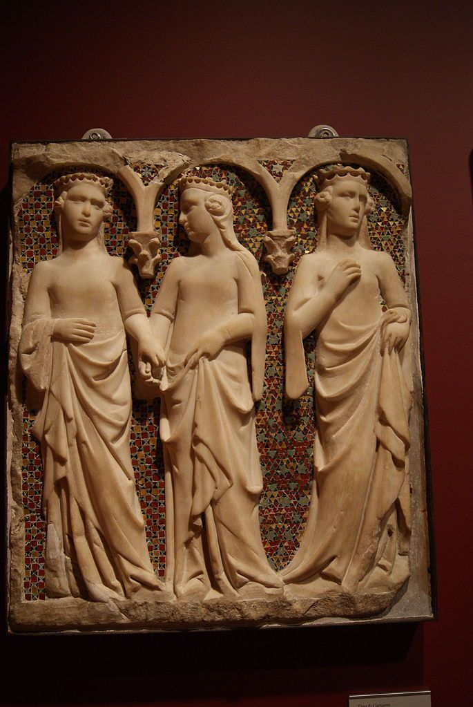 """""""Three Princesses"""" probably a fragment from a dismantled royal tomb in Siena, Italy, commissioned by Robert, King of Naples (Robert of Anjou).by Tino diCamaino,1325-35"""