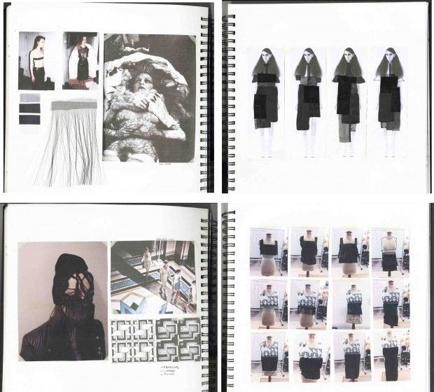 Fashion Sketchbook pages - fashion design process with theme, mood, collage illustrations & design development; fashion portfolio layout // Bianca de Csernatony