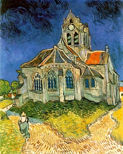 """""""L'eglise d'Auvers-sur-Oise""""  Vincent Van Gogh  This is at the Musee d'Orsay in Paris and is one of my favorites."""