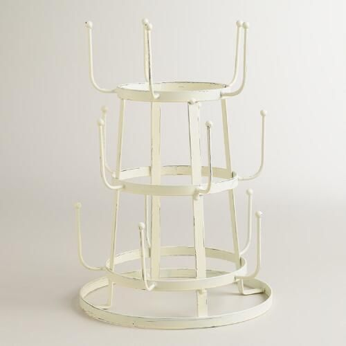 Antique White Wire 3-Tier Glass Drying Rack | World Market