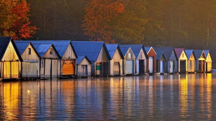 boathouse on Lake Panache | Boathouses on Lake Panache, Greater Sudbury, Ontario, Canada (© Don ...