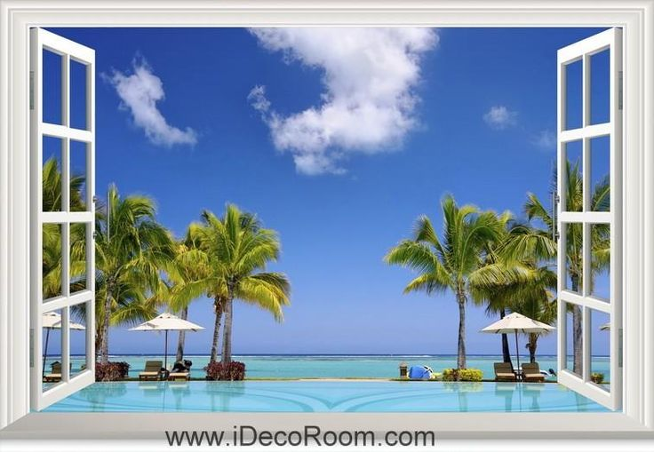 3D Shore Beach Summer Tropical window wall sticker art decal IDCCH-LS-000211