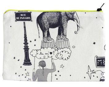 Toile De Jouy Grey Zip Up Bag