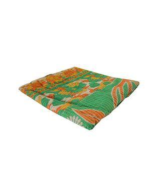 Indiase quilt met groene print