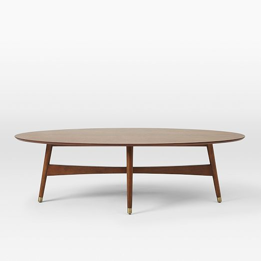 Reeve Mid-Century Coffee Table - Oval | West Elm This is nice but cost much more than the IKEA one ($499)